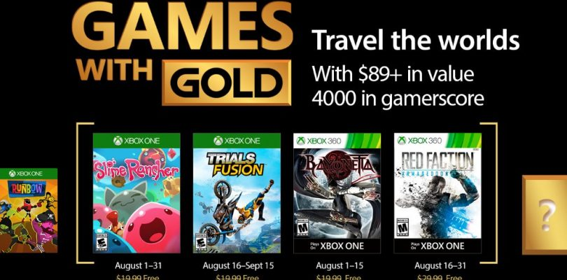 August 2017's Games with Gold Announced